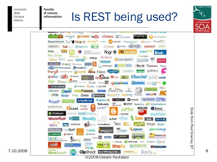 Is REST being used? Slide from Paul Downey, BT