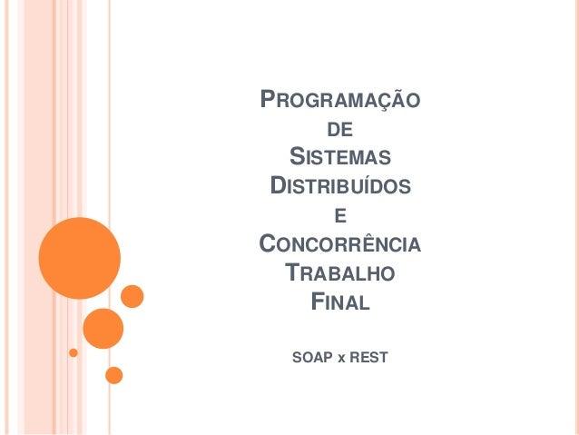 PROGRAMAÇÃO DE SISTEMAS DISTRIBUÍDOS E CONCORRÊNCIA TRABALHO FINAL SOAP x REST