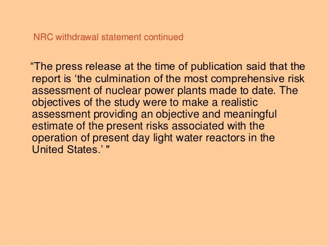 """""""The press release at the time of publication said that the report is """"the culmination of the most comprehensive risk asse..."""