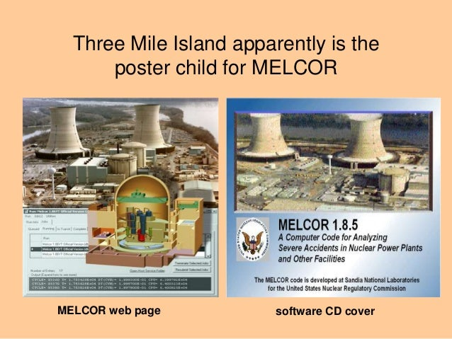 Three Mile Island apparently is the poster child for MELCOR software CD coverMELCOR web page