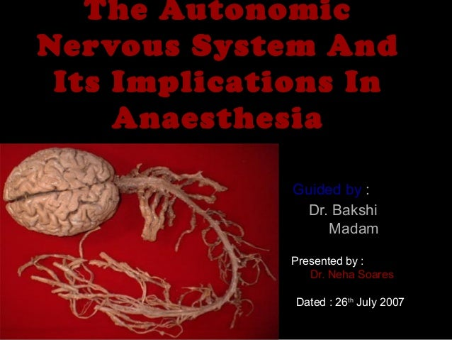 The AutonomicThe Autonomic Nervous System AndNervous System And Its Implications InIts Implications In AnaesthesiaAnaesthe...