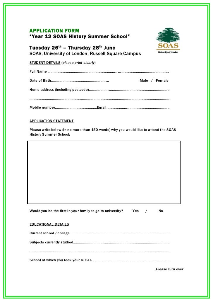 """APPLICATION FORM""""Year 12 SOAS History Summer School""""Tuesday 26 th – Thursday 28 th JuneSOAS, University of London: Russell..."""