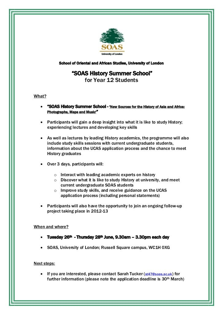 "School of Oriental and African Studies, University of London                     ""SOAS History Summer School""             ..."