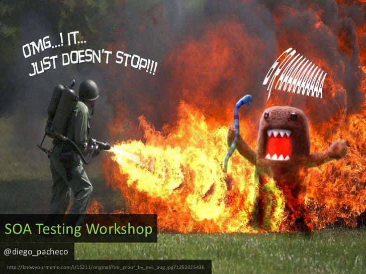 SOA Testing Workshop<br />@diego_pacheco<br />http://knowyourmeme.com/i/15211/original/fire_proof_by_evil_bug.jpg?12520254...