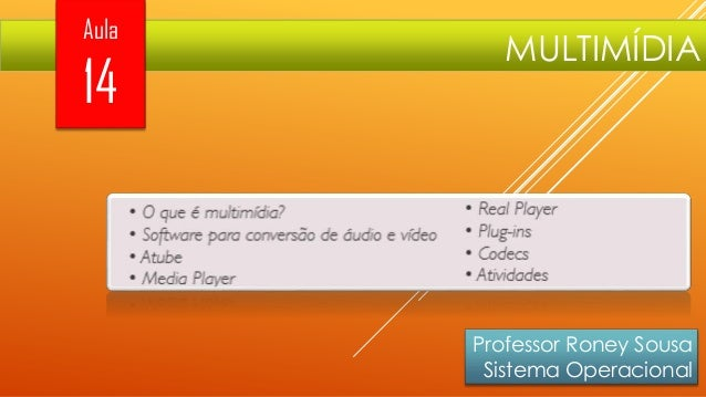 Aula  14  MULTIMÍDIA  Professor Roney Sousa Sistema Operacional