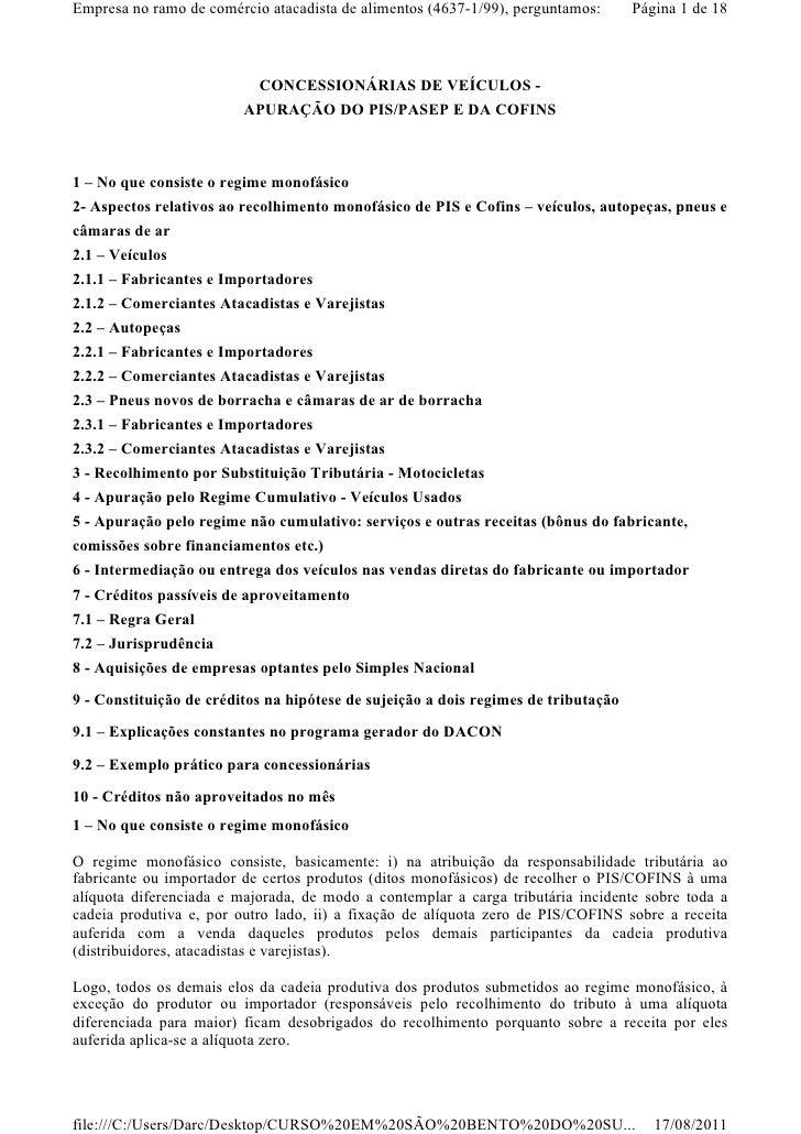 Empresa no ramo de comércio atacadista de alimentos (4637-1/99), perguntamos:       Página 1 de 18                        ...