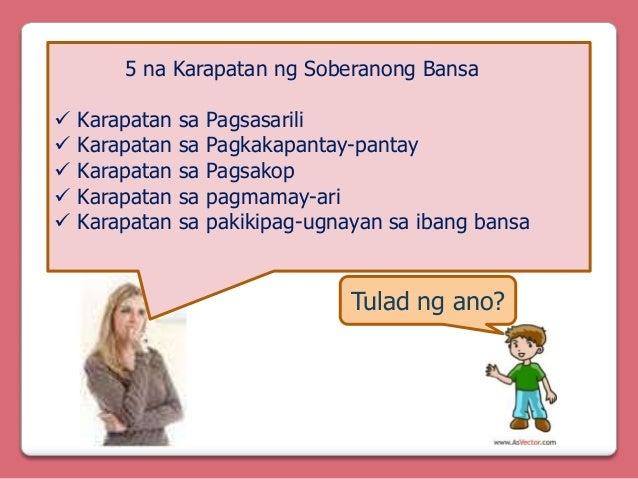 5 na Karapatan ng Soberanong Bansa       Karapatan Karapatan Karapatan Karapatan Karapatan  sa sa sa sa sa  Pagsasari...