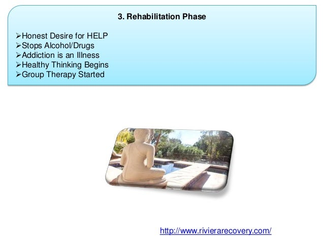 3. Rehabilitation Phase Honest Desire for HELP Stops Alcohol/Drugs Addiction is an Illness Healthy Thinking Begins Gr...