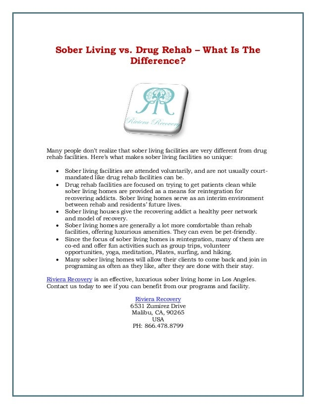 Sober Living vs. Drug Rehab – What Is The Difference? Many people don't realize that sober living facilities are very diff...
