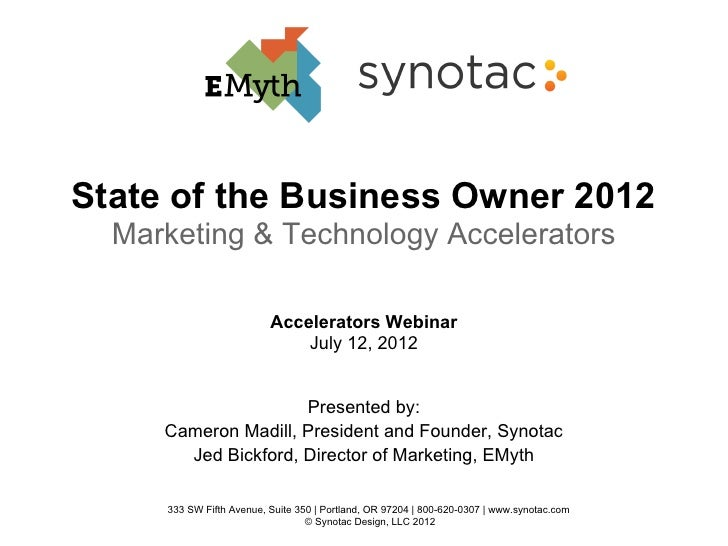 State of the Business Owner 2012  Marketing & Technology Accelerators                          Accelerators Webinar       ...