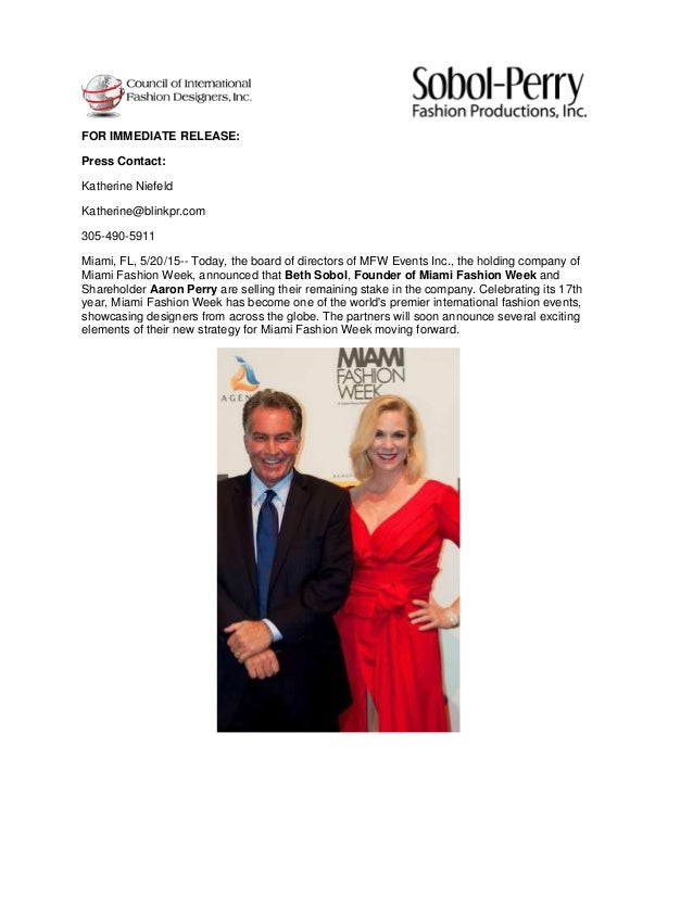 FOR IMMEDIATE RELEASE: Press Contact: Katherine Niefeld Katherine@blinkpr.com 305-490-5911 Miami, FL, 5/20/15-- Today, the...