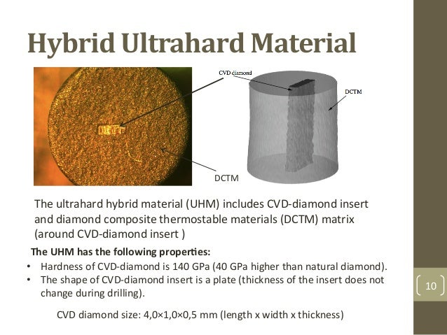 Hybrid+Ultrahard+Material$ 10& • Hardness&of&CVDFdiamond&is&140&GPa&(40&GPa&higher&than&natural&diamond).& • The&shape&o...