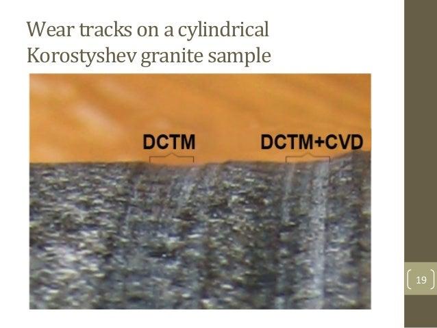 Wear$tracks$on$a$cylindrical$ Korostyshev$granite$sample$$ 19&