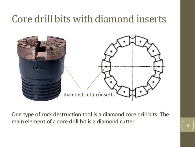 Core$drill$bits$with$diamond$inserts$ 4& One&type&of&rock&destrucAon&tool&is&a&diamond&core&drill&bits.&The& main&element&...