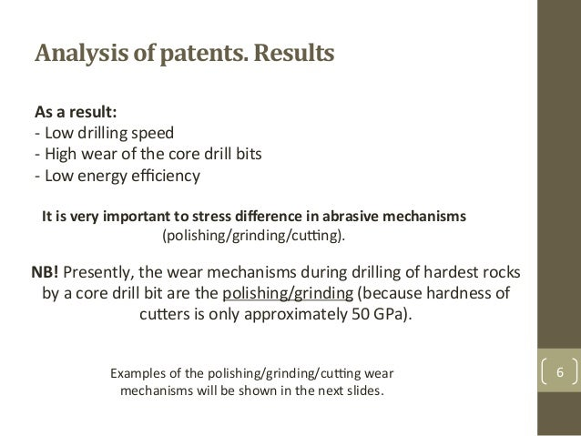 Analysis+of+patents.+Results+ 6& As%a%result:% F&Low&drilling&speed& F&High&wear&of&the&core&drill&bits& F&Low&energy&effici...