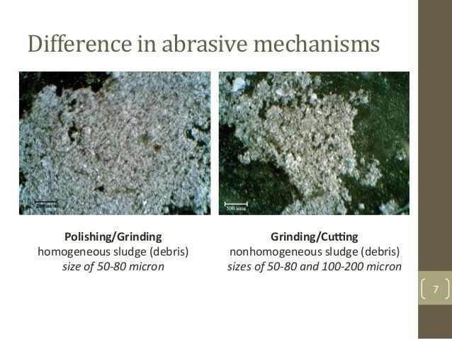 Difference$in$abrasive$mechanisms$$ 7& Polishing/Grinding%% homogeneous&sludge&(debris)&& size%of%50*80%micron% Grinding/C...