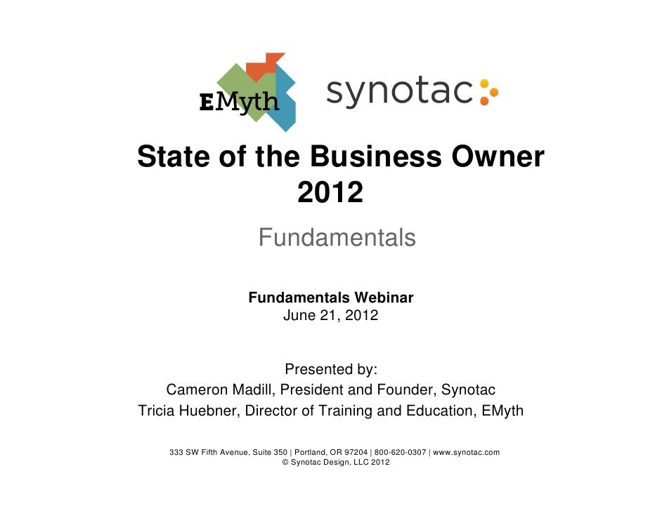 State of the Business Owner            2012                          Fundamentals                       Fundamentals Webin...
