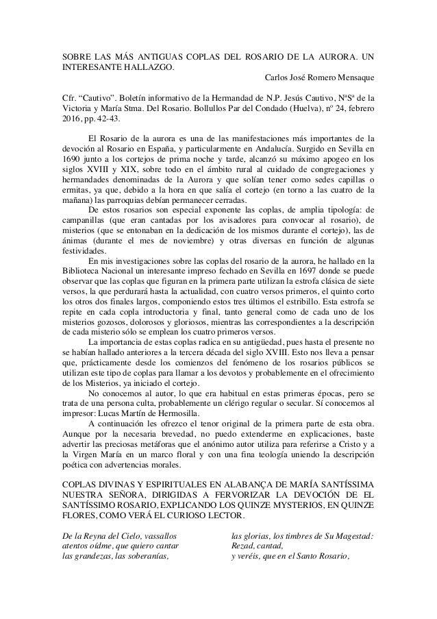 """SOBRE LAS MÁS ANTIGUAS COPLAS DEL ROSARIO DE LA AURORA. UN INTERESANTE HALLAZGO. Carlos José Romero Mensaque Cfr. """"Cautivo..."""