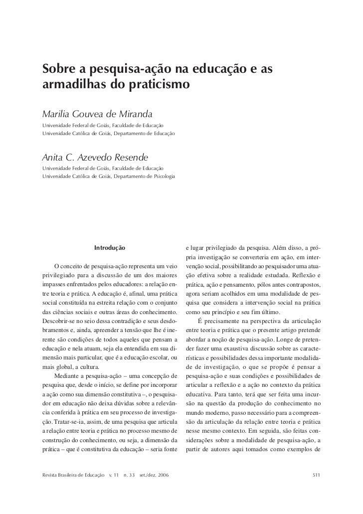 Sobre a pesquisa-ação na educação e as armadilhas do praticismoSobre a pesquisa-ação na educação e asarmadilhas do pratici...