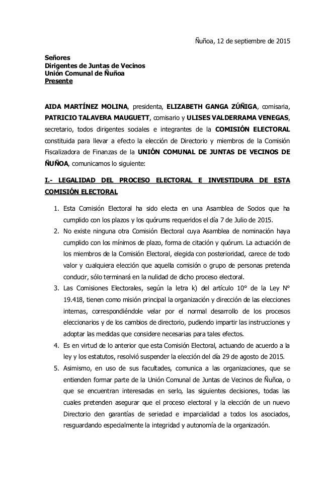 Ñuñoa, 12 de septiembre de 2015 Señores Dirigentes de Juntas de Vecinos Unión Comunal de Ñuñoa Presente AIDA MARTÍNEZ MOLI...