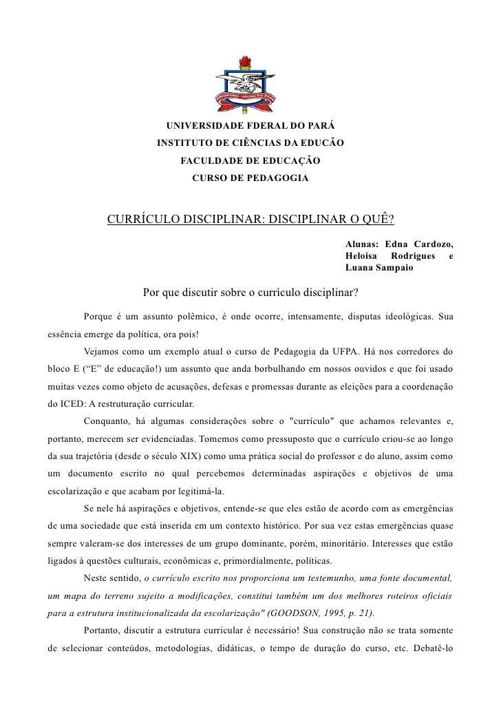 UNIVERSIDADE FDERAL DO PARÁ                            INSTITUTO DE CIÊNCIAS DA EDUCÃO                                  FA...