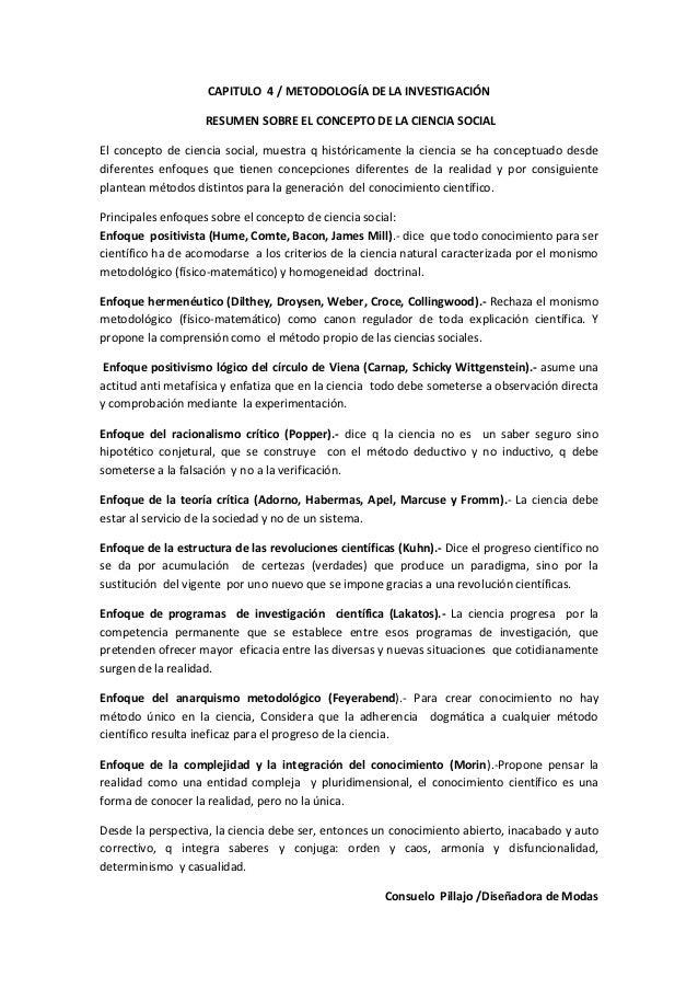 CAPITULO 4 / METODOLOGÍA DE LA INVESTIGACIÓN                    RESUMEN SOBRE EL CONCEPTO DE LA CIENCIA SOCIALEl concepto ...