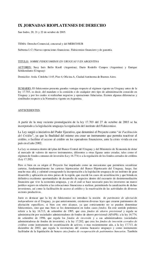 IX JORNADAS RIOPLATENSES DE DERECHOSan Isidro, 20, 21 y 22 de octubre de 2005.TEMA: Derecho Comercial, concursal y del MER...