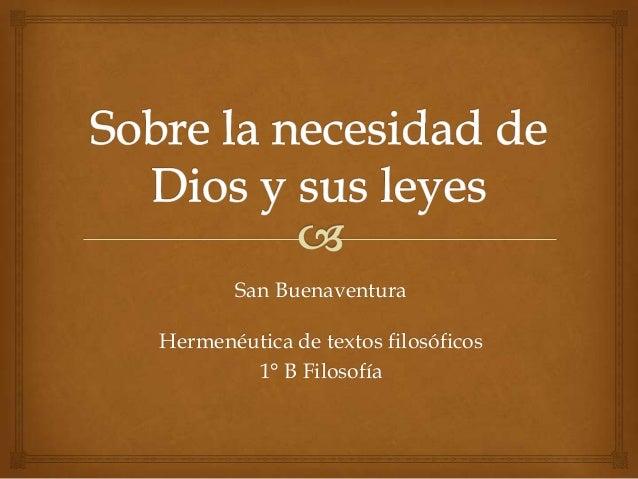Hermenéutica de textos filosóficos1° B FilosofíaSan Buenaventura