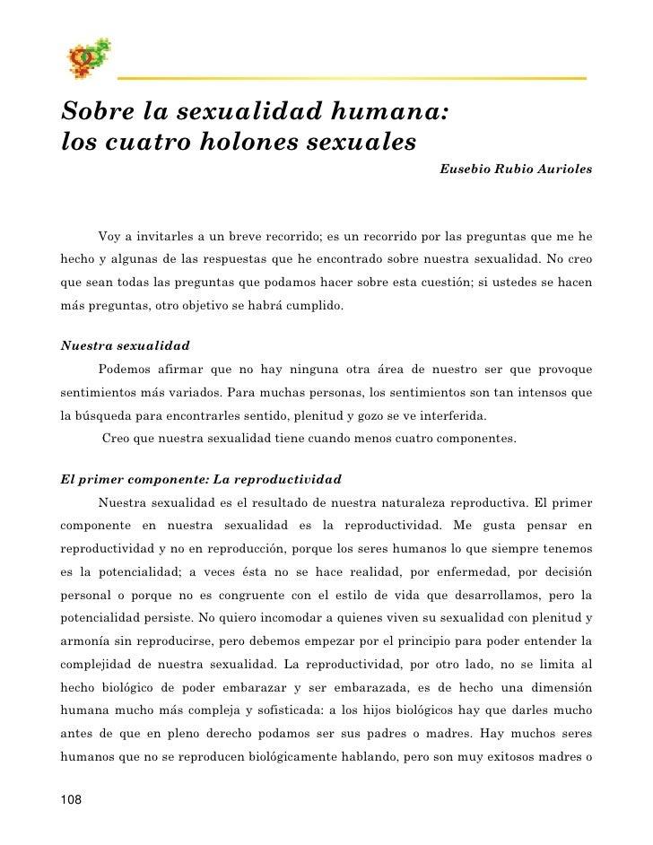 Sobre la sexualidad humana: los cuatro holones sexuales                                                                 Eu...