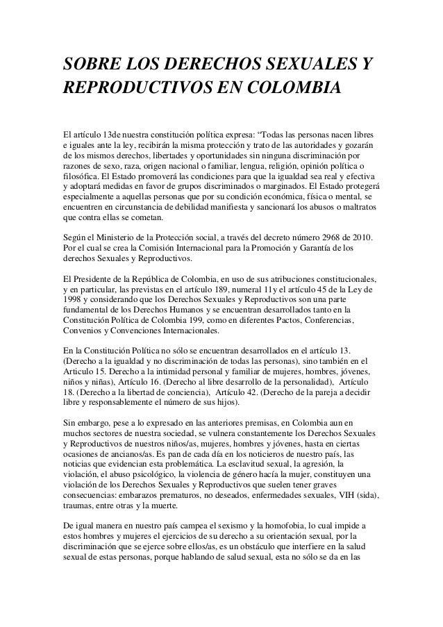 Derechos sexuale y reproductivos en colombia