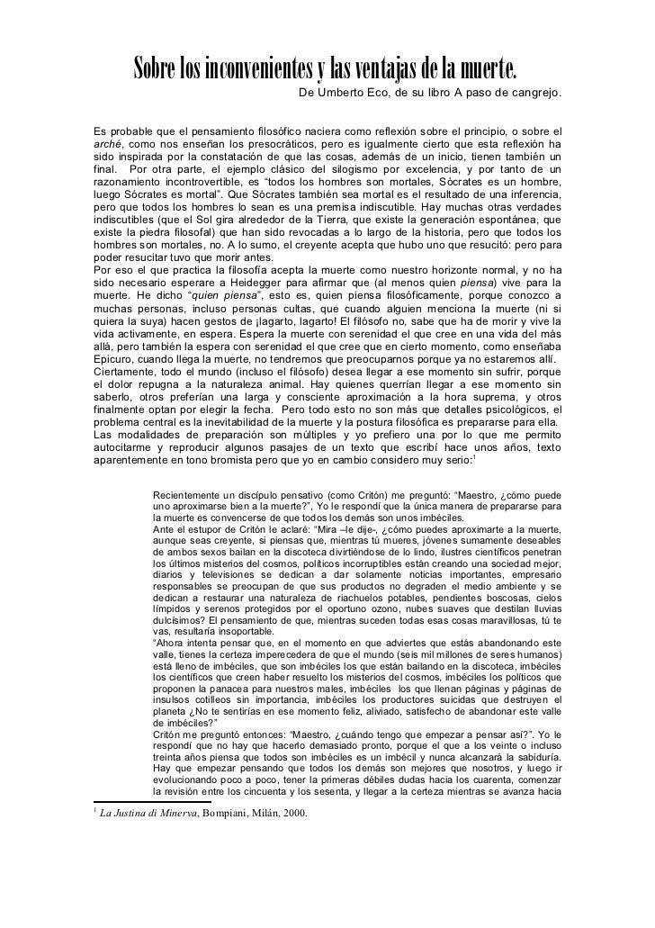 Sobre los inconvenientes y las ventajas de la muerte.                                                De Umberto Eco, de su...