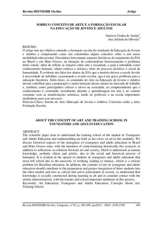 Revista HISTEDBR On-line Artigo Revista HISTEDBR On-line, Campinas, nº 63, p. 189-209, jun2015 – ISSN: 1676-2584 189 SOBRE...