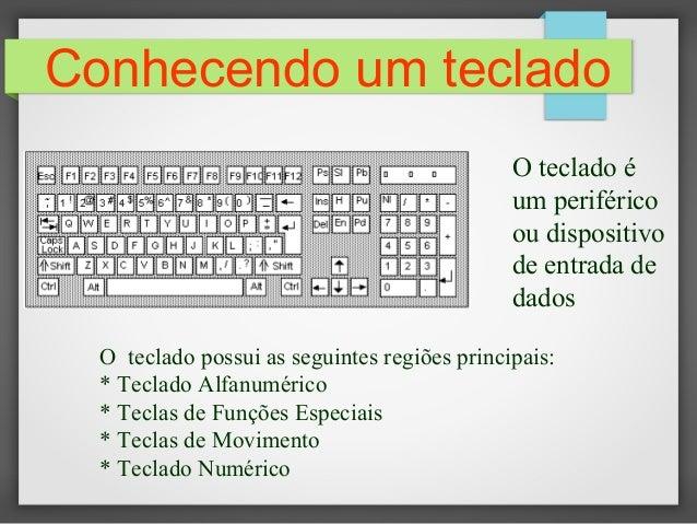 Conhecendo um teclado O teclado possui as seguintes regiões principais: * Teclado Alfanumérico * Teclas de Funções Especia...