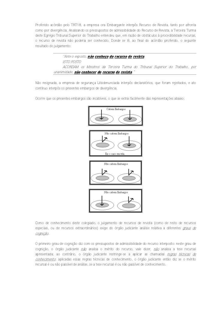 Proferido acórdão pelo TRT18, a empresa ora Embargante interpôs Recurso de Revista, tanto por afrontacomo por divergência,...