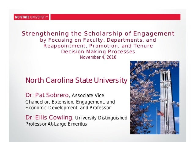 Strengthening the Scholarship of Engagement by Focusing on Faculty, Departments, and Reappointment, Promotion, and Tenure ...