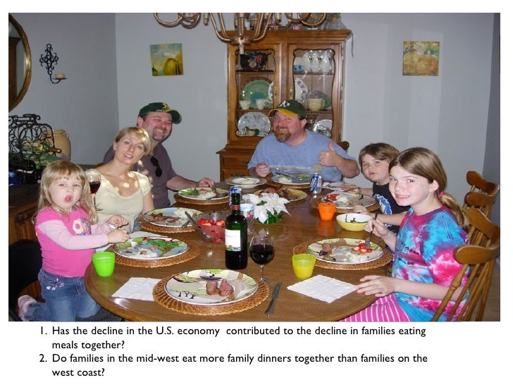 <ul><li>Has the decline in the U.S. economy  contributed to the decline in families eating meals together? </li></ul><ul><...