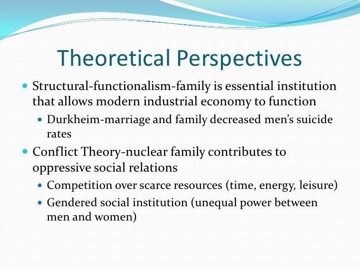 Theoretical Perspectives Structural-functionalism-family is essential institution that allows modern industrial economy t...