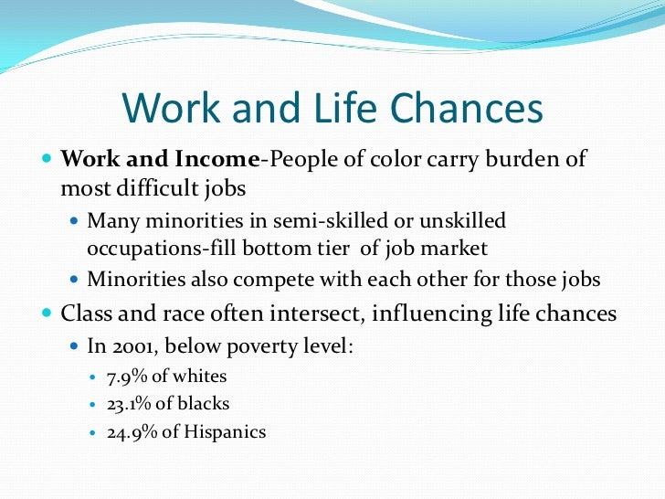 Work and Life Chances Work and Income-People of color carry burden of  most difficult jobs   Many minorities in semi-ski...