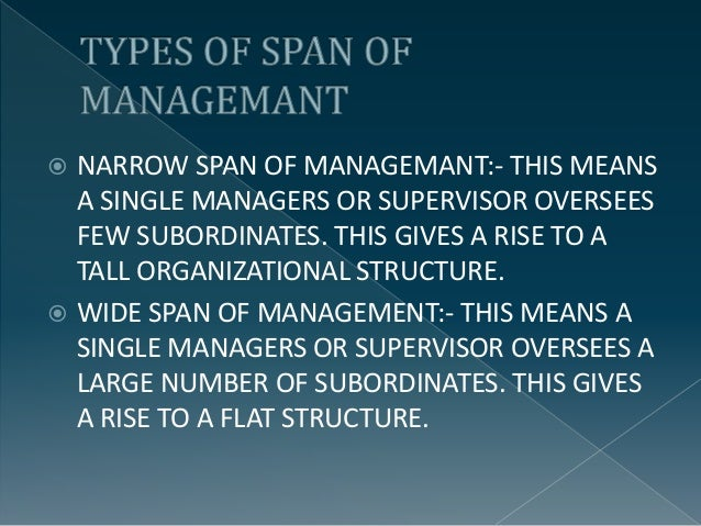 span of management Span of control and span of attention oriana bandiera,  in management, both in scholarly analysis and practical implementation span of control plays.