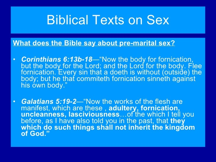 Does the bible say about sex