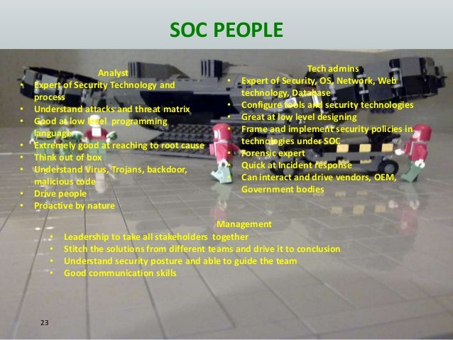 SOC PEOPLE 23 Analyst • Expert of Security Technology and process • Understand attacks and threat matrix • Good at low lev...