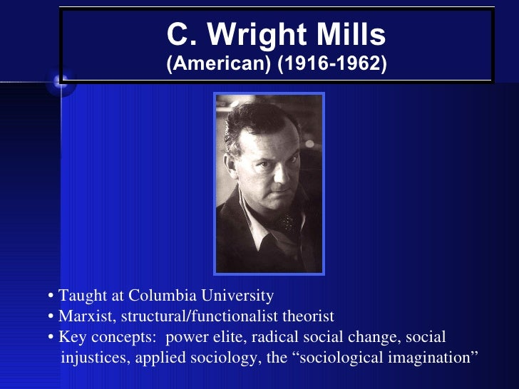 concepts c wright mills promise sociology C wright mills 50 years on: the promise and politics, sociology, theory on 20 march 1962, c wright mills died of a heart attack in his concepts and methods.
