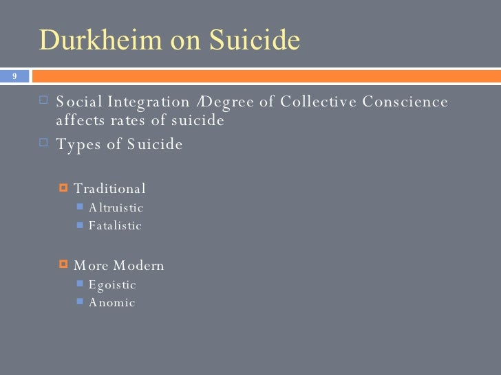 durkheim suicide and modernity • durkheim argues that individualism is a modern social phenomenon it is not as pronounced in earlier societies it is the result of social differentiation associated with the development of the social division of labor.