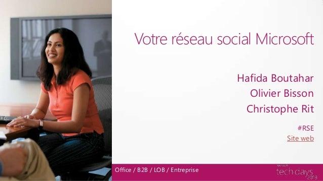 Votre réseau social MicrosoftHafida BoutaharOlivier BissonChristophe RitOffice / B2B / LOB / Entreprise#RSESite web