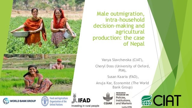 Male outmigration, intra-household decision-making and agricultural production: the case of Nepal Vanya Slavchevska (CIAT)...