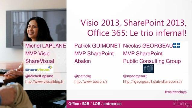 Visio 2013, SharePoint 2013,Office 365: Le trio infernal!Office / B2B / LOB / entrepriseMichel LAPLANE Patrick GUIMONET Ni...