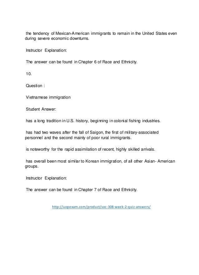 SOC 308 Week 2 Quiz Answers 2015 version