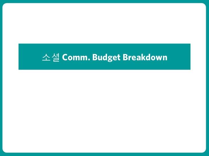 소셜 Comm. Budget Breakdownㅇㅇㅇㅇㅇ