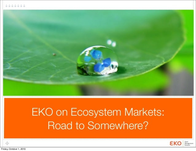 EKO on Ecosystem Markets: Road to Somewhere? Friday, October 1, 2010
