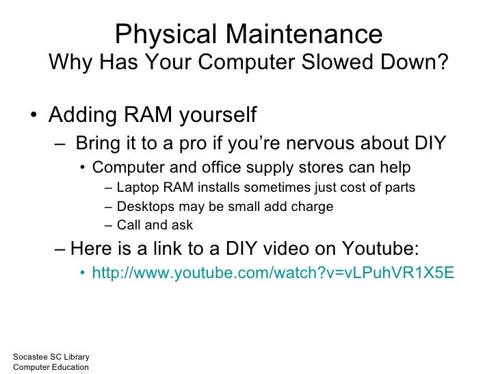 maintaining your computer These simple steps will prolong the life of your computer and hard drive protect your investment and your data so it will be there when you need it.
